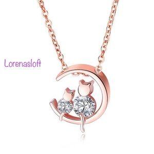 Moon Cat Cristal Pendant Necklace